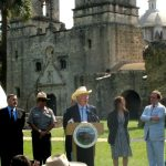 Salazar at Mission Concepción in San Antonio