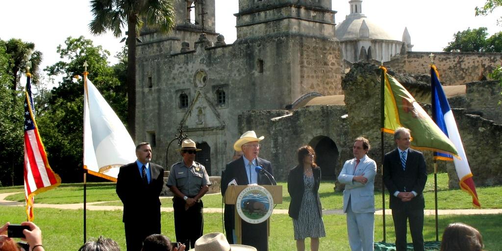 Salazar at Mission Concepción in San Antonio