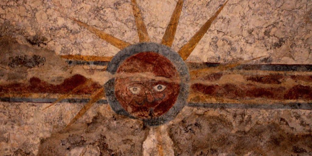 Sun fresco at Mission Concepción, San Antonio