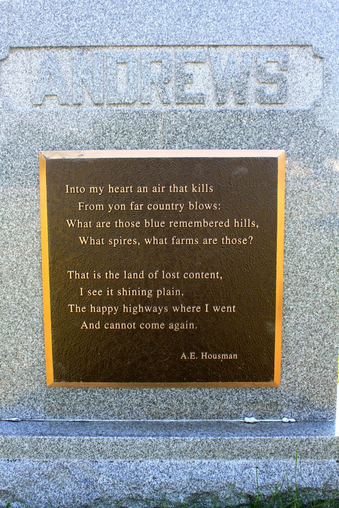Poem by A.E. Housman on Andrews tombstone