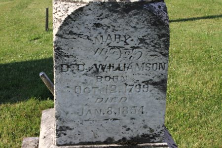 Mary Williamson, age 54, died in the winter of 1854