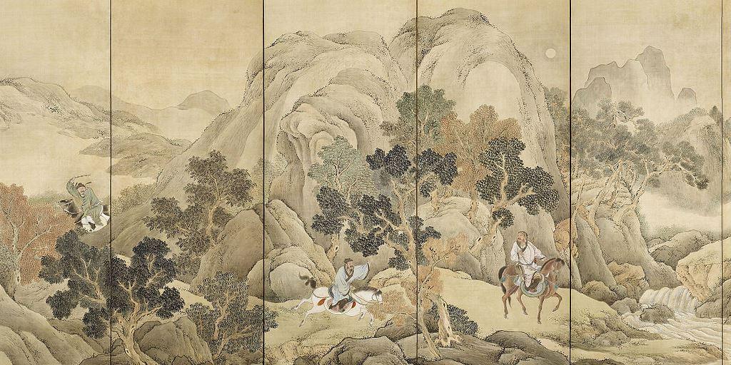 """""""Xiao, He chases Han Xin"""" by Yosa Buson"""