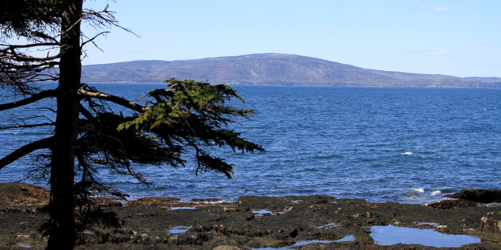 Mount Cadillac at midday from across Frenchman Bay
