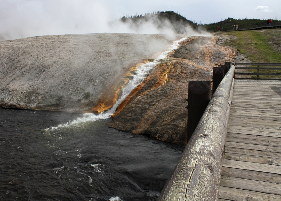 Footbridge over the Firehole River at the Midway Geyser Basin, Yellowstone National Park