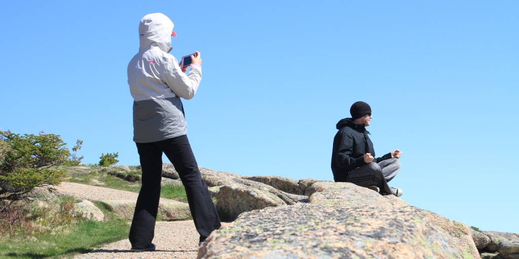 Tourists on the summit of Cadillac Mountain